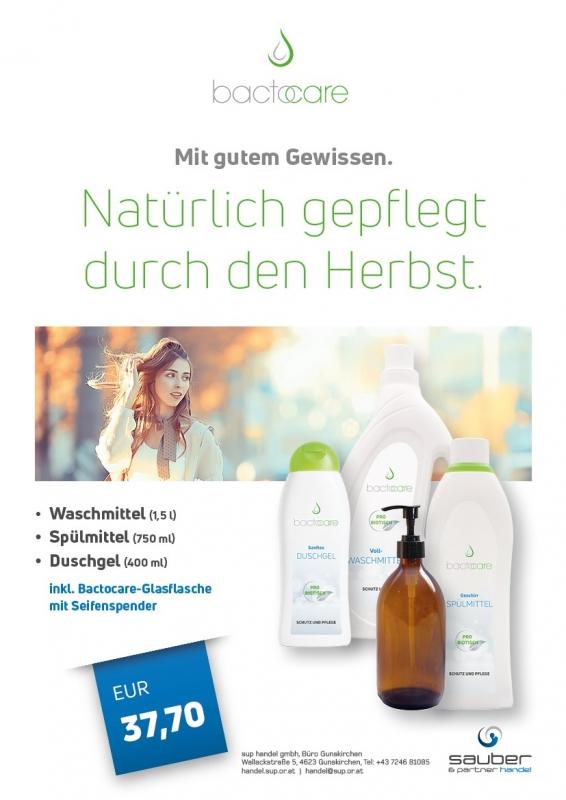 HERBSTAKTION bactocare                                                                                                                                                                                                1 Waschmittel + 1 Spülmittel + 1 Duschgel