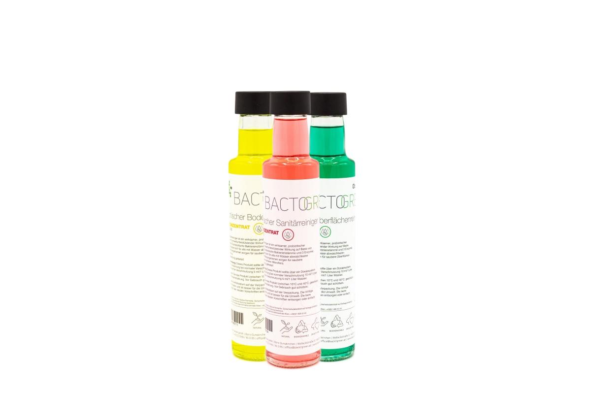 Set-Aktion BACTOGREEN Oberflächen-, Boden- und Sanitärreiniger in der 250 ml Glasflasche