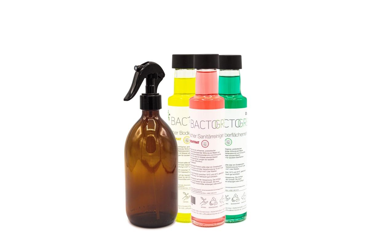 Set-Aktion BACTOGREEN Oberflächen-, Boden- und Sanitärreiniger 250 ml Glasflasche + Braunglasflasche